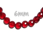 6mm round faceted acrylic beads in Red 100 beads