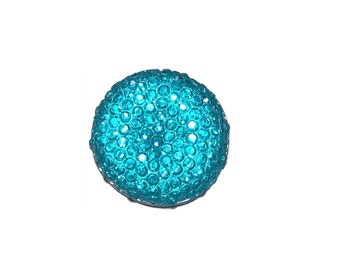 20mm round and sparkly cabochon in Aqua