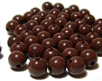 8mm Smooth Round Acrylic Beads in Dark Brown 50 pcs