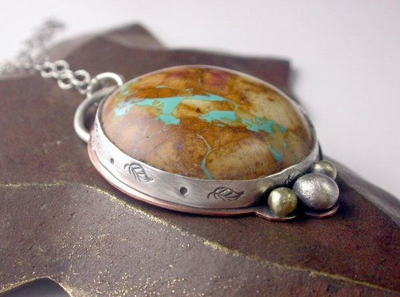 Sale - TAKE30 - Free Shipping - Royston Boulder Turquoise - Stone and Mixed Metal Pendant
