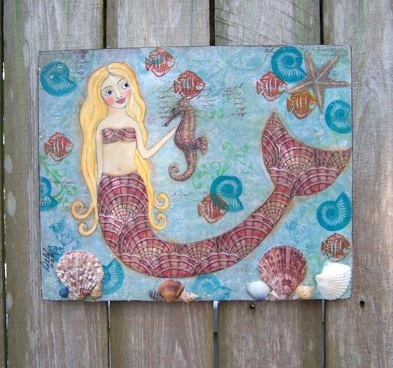 Encaustic Mermaid and Real Shells Original Painting  Mixed Media collage FREE SHIPPING