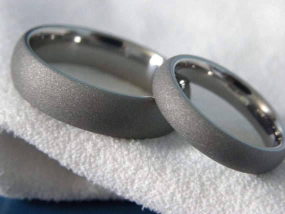 Titanium Ring SET, Sandblasted, Gray Wedding Bands