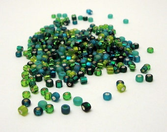 24 grams Size 8/0 Japanese Glass Seed Beads Lucky Green Mix