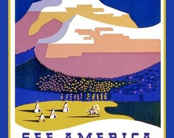 See Montana Vintage Poster Refrigerator Magnet