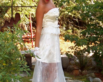 CLEARANCE-Aubrianna-Custom OOAK 2 pc Ivory Gown-Opaque Organza  Satin Mini Skirt-Satin Corset-Prom-Party-Wedding GownCRBoggs Original OOAK