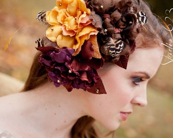 Autumn Elegance-Silk Floral trio-whimsical feathers and gold beads Hairpiece or Bridal Sash flower-CRBoggs Designs Original