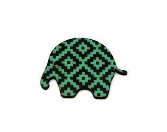 SALE Elephant Brooch, Geometric Illustration, Wood Jewelry, Animal Brooch