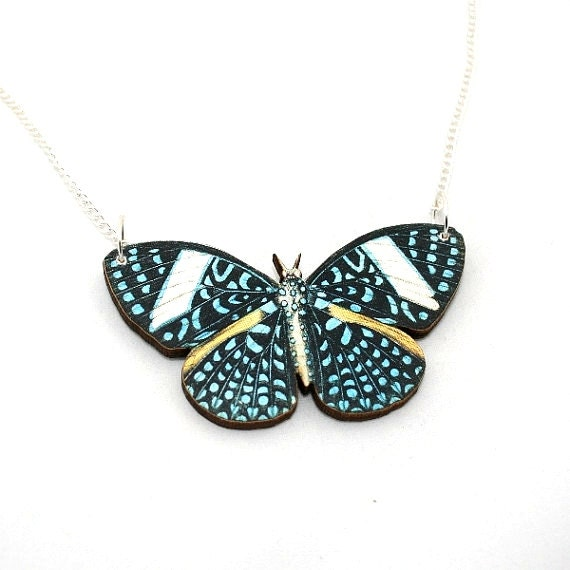Blue Butterfly Necklace, Starry Night Cracker Butterfly, Wood Pendant, Illustration Jewelry, Woodland, Animal Necklace, Wood Jewelry