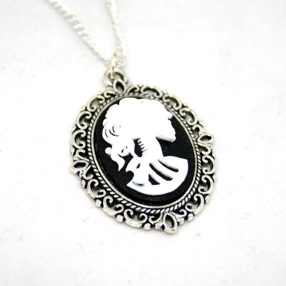 White Skeleton Necklace, Skull Cameo, Lolita, Day of the Dead, Halloween