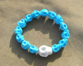 Skulls Stretch Bracelet Genuine Howelite Bead Bracelet