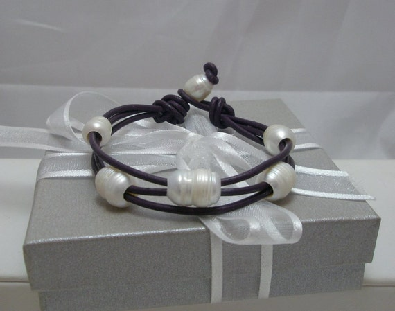 Genuine Freshwater Pearls and Leather 3 strand Bracelet White on Purple leather