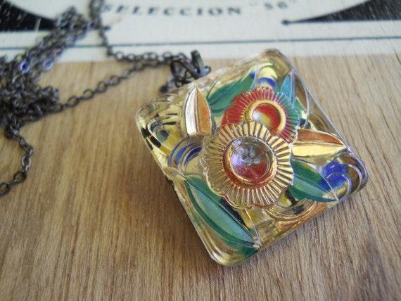 Vintage Glass Button Necklace Upcycled Jewelry