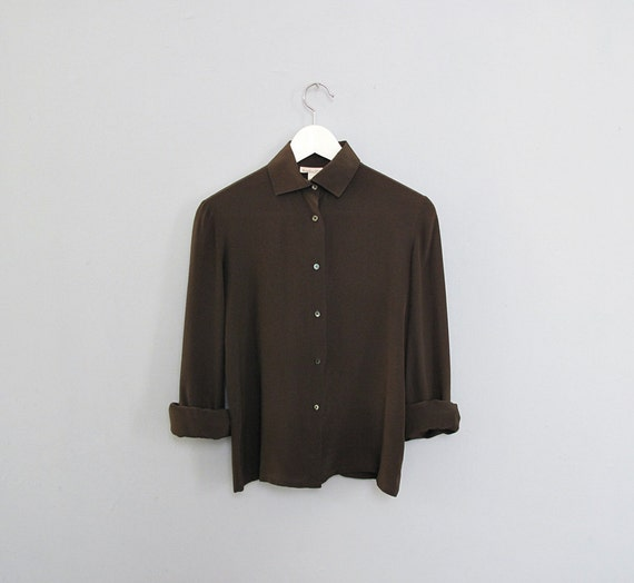 vintage silk DARK GREEN shirt S