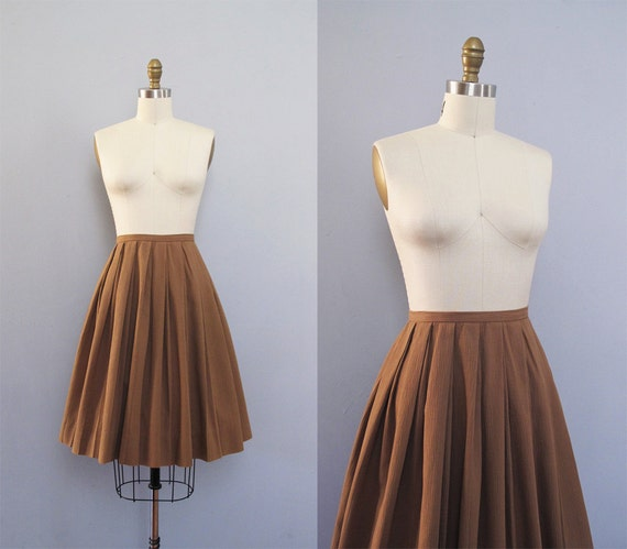 TAN cotton pleated full high waisted skirt S M