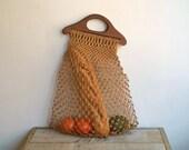 Reserved for Caroline Vintage Crochet Net Tote Bag, Market Bag, Beach Tote