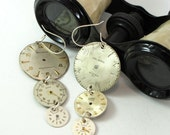 Steampunk Vintage Watch Dial Earrings Dangle OOAK Exclusive Design By Mystic Pieces