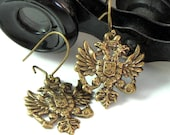 Captain's Crest Steampunk Earrings Wings Antique Brass Designed By Mystic Pieces