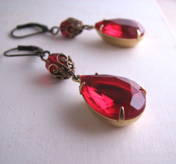 Victorian style drop  earrings with vintage glass garnets