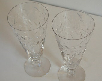 2 Vintage Tiffin Franciscan Mayfair Cut Ice Tea Glass Stem 17525 Additional Stems Available