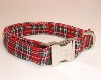 Red Tartan Dog Collar by Swanky Pet
