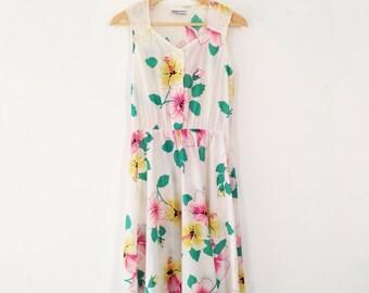 vintage white cotton tropical hibiscus floral dress M