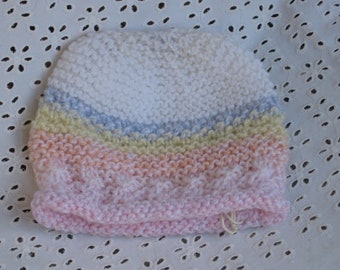 Knitted baby hat - pastel colors