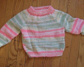 SPRING! fair isle and stripe hand knit baby sweater - 0 - 6 months