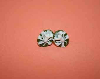 Tiny Sage Green Flower Cameo Earrings