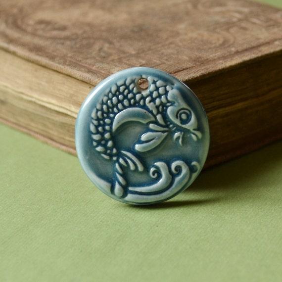 Handmade Koi Pendant in Water Blue