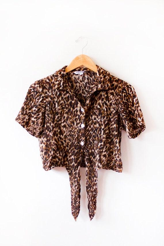 Leopard Print Button up Crop Top- Size Medium