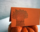 Place Cards Hand Stamped Wheat Sheave Thanksgiving Table Place Cards Pumpkin Cardstock