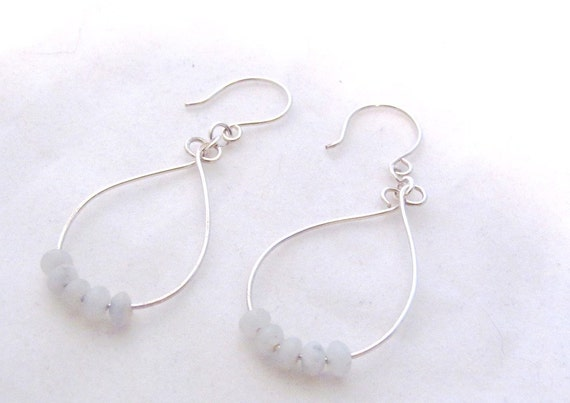 Earrings Sterling Silver Curved Wire Loop Amazonite Rondelle Bead Drop Dangle