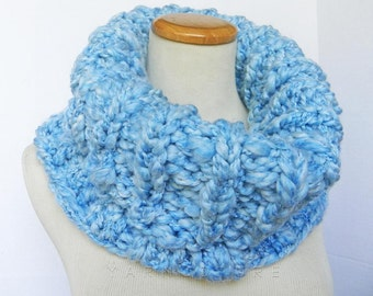 The BUKNUK Cowl - OVERSIZED Thick Knit Ribbed Cowl - Fall, Winter Fashion -  Sky Blue