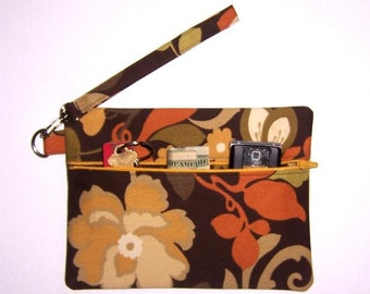 Gold Brown Wristlet, Orange Floral Clutch, Cell Phone Wallet, Zippered Wallet, Small Purse, Makeup or Camera Bag, Small Zipper Pouch,
