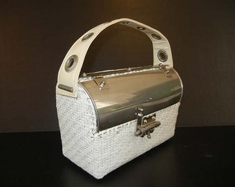 1960s purse / Lunch Box Wicker Metal Dome Vintage 60's Mod Purse