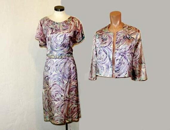 1950s dress / Whirly Pop Vintage 50's Plus Size Lavender Swirl Dress and Jacket Set