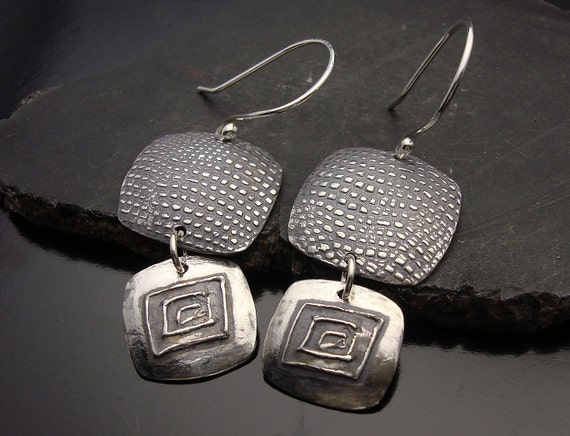 All That's Silver - Sterling Silver Earrings with Hand Drawn Design