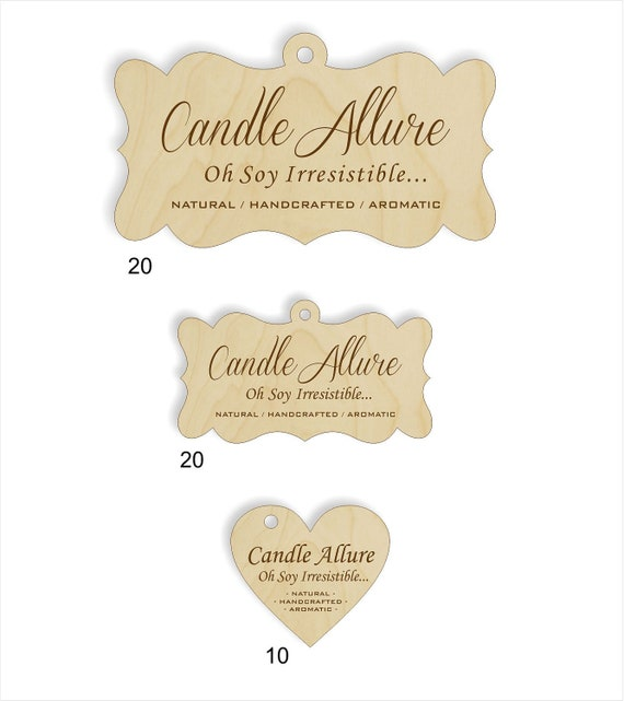 50 custom wood engraved tags for CandleAllure