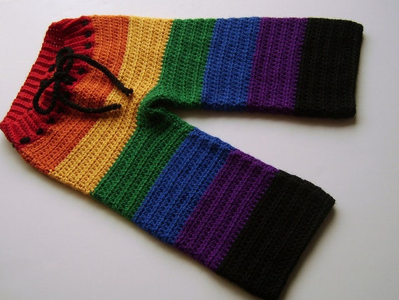 Custom NEWBORN Crocheted Rainbow Longies, Cloth Diaper Cover, Baby Pants, Newborn, Infant, Toddler