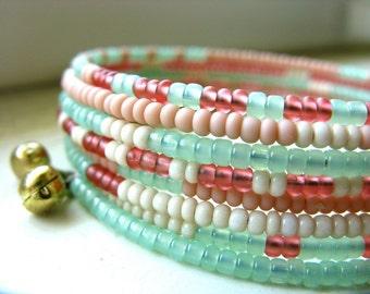 Beaded Wrap Bracelet Cuff Bohemian Glass Beads - Melon Mint
