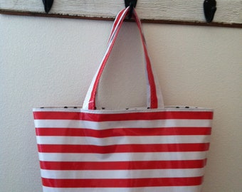 Beth's Large Red Stripes Oilcloth Market Tote Bag