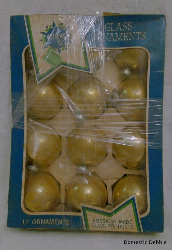 Coby Glass Christmas Tree Ornaments : Vintage gold glass ball christmas ornaments coby by