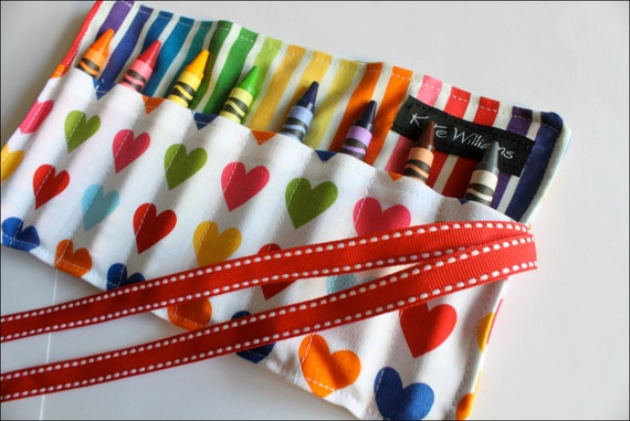 Hearts and Rainbow Stripes Mini Me Crayon Holder-8 Crayola Crayons Included-Great Gift or Party Favor for Kids