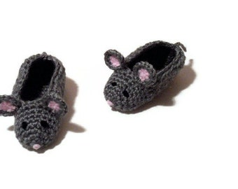 Mouse Baby Booties, Crochet Baby Booties, Pregnancy Reveal