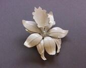Vintage White Orchid Enameled AB Aurora Borealis Rhinestone Pin Brooch Shabby Chic