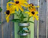 GREEN APPLE Mason Jar wood mounted vase