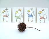 Original mixed media ACEOs, DODO set of four, marked down 50%, drawing, watercolor, bird, home decor, small art