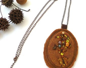 Marked down 50%, Brown fantasy III, unique fiber art bead embroidery necklace, bead embroidery, hand stitched, romantic felt pendant