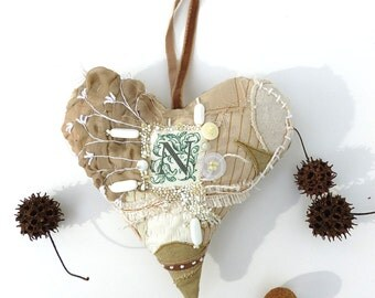 Beige heart IV large heart ornament, fiber art,  featured in Sew Somerset winter 2014, fiber collage, monogram, home decor, eco-friendly