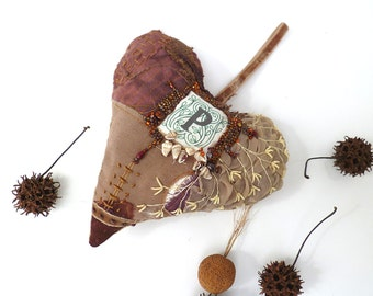 Large heart fiber art ornament, BROWN HEART III, featured in Sew Somerset winter 2014, fiber collage, monogram, home decor, eco-friendly